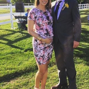 Pink Floral Abstract Fitted Maternity Dress